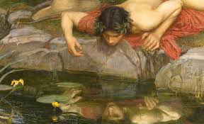 Narcissus bewondert zichzelf en probeert zijn spiegelbeeld te pakken.